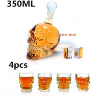 Wholesale 4 Pcs/Pack Crystal Skull Head Vodka Whiskey Shot Glass + 1 pc Crystal Head Skull Bottle 350ml Free Shipping