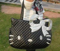 Hello Kitty black leather-like tote bag purse,2012 ,Free shipping.