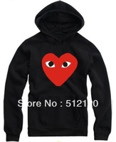 Free shipping love play NWT COMME Des GARCONS CDG PLAY Heart-shaped for winter Fleece hoodie CDG hoodies 18 style fashion hoodie