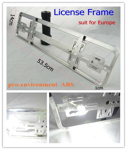 1 pair Chrome European size car license plate frame number-plate RoHS pro-environment ABS #F (FREESHIPPING)(China (Mainland))