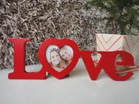 "1 x MDF RED ""LOVE"" Style Desktop Hanging Photo Wedding Dress Photo Frame"