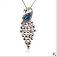 new arrive korean high quality luxury full rhinestone peacock pendant long sweater necklace  free shipping HeHuanXL037