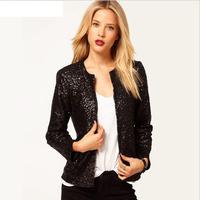 Free shipping 2014 Fashion blazer shiny black or silver o-neck stud women's jacket  slim long sleeve women's coats  T031