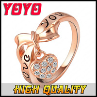 2014 New Italine Brand Fashion 18k Rose Gold Silver Rings For Women Love You Bowknot Heart Ring 2014 Engagement ,Hjz050