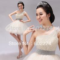 2013 Champagne Color Handmade Short Design One Shoulder Princess Formal Dress Free Shipping