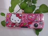 High quality Hello Kitty School stationery Kids multifunctional compass double-open plastic cartoon pencil case  pen box KT3070