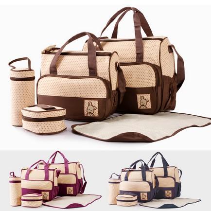 Free shipping!!! 5Pcs Fashion Multi Function Baby Bag Baby Diaper Bags Mummy Mama Nappy bags Tote coach Handbags(China (Mainland))