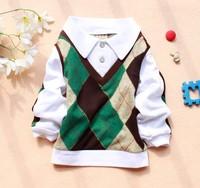 free shipping Plaid shirt  Promotion! three colors turn-down design hot Kid's boy long sleeve shirt  WH