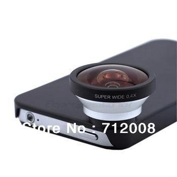 Hot universal 0.4x Super Wide Angle Conversion Lens With Back Case For iPhone4 4S OSINO