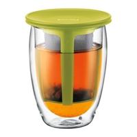 Free shipping Bodum TEA FOR ONE Glass, double wall tea glass mug with tea strainer, 0.35 l, 12 oz ,glass Espresso cup