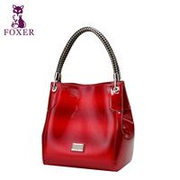 FOXER women leather handbags new 2014 fashion cowhide vintage handbag  genuine leather bags designer brand totes shoulder bags