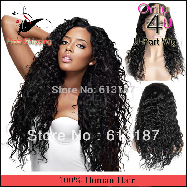"Free Shipping Natural Off Black Deep Curly U Part Human Hair Wig 10-28"" In Stock(China (Mainland))"