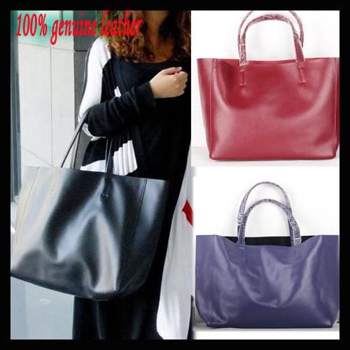 Fashion cowhide cabas shoulder bag handbag large bag tote genuine leather shopping bag women's handbag bronze metal color(China (Mainland))