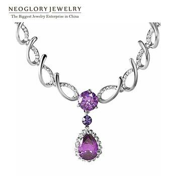 Neoglory Rhinestone Zircon Fashion Charm Chain Bib Necklaces & Pendants Engagement Jewelry Romantic Brand Gifts 2014 New Pur1