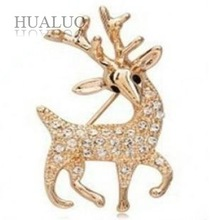 Free shipping Min.order is $10 (mix order) Fashion High Quality Exquisite Sika Deer Brooch Shining Rhinestone Jewelry (Gold) X28