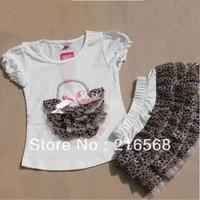 Retail 1set Girls Suits girls white leopard Short sleeve T-shirt+leopard TUTU skirt Girls Dresses set  LJ120