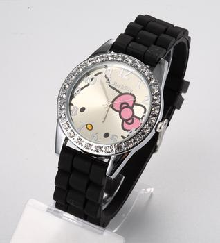 Hot Brand Hello Kitty Cartoon watches Women Silicone Jelly watch children girls dress WristWatches Casual Quartz watch