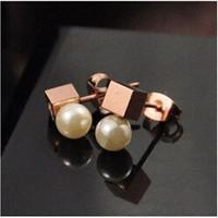 100% Gurantee 316L 18K rose gold plated freshwater pearl brand charm ladies drop earrings EA003