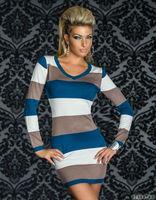 Plus Size M L XL XXL  Women Sexy Autumn Winter O-Neck Long Sleeve Hot Colored Strips Club wear Dress Fashion Mini Dress 8885