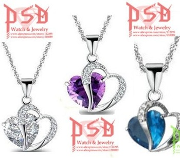 necklaces & pendants Wholesale (30 pcs/lot) Platinum-Plated Neclace w/ Double Hearts Pendant