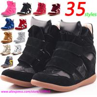 Wholesale Isabel Marant Fashion Wedge Sneakers,Leather&PU Full Black Velcro,EU 35~42,Height Increasing 6cm,No Logo,Women's Shoes