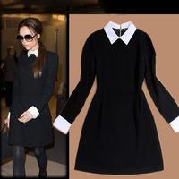 Women's Fashion Dresses,White Turn-down Collar Long Sleeve Black Dress,Slim-fit Vintage Dress Free Shipping