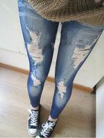 Wholesale+drop Shipping!! Women Stretch Cotton Fake Hole Imitation Jeans Leggings Pantyhose New