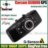 """In Stock Carcam Ambarella GS9000 GPS Car DVR Recorder 178 Degree Wide Angle With 2.7"""" LCD 1920*1080P 30FPS H.264 IR Night Vision"""
