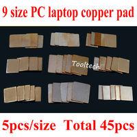 Freeshipping 45pcs/lot 9 modle 15mmx15mm(0.1-2.0mm) Copper Heatsink Thermal Heat Conductive Pad for Laptop VGA GPU CPU Wholesale