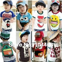 Special offer 2014 children's t-shirt cartoon clothing short sleeve  sport t-shirts 0-10 ages,1pc\lot,5size(can choose size) T02