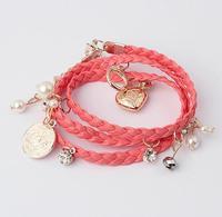 brand fashion charm bracelet jewelry wholesale heart pearl woven bracelets for women 2014