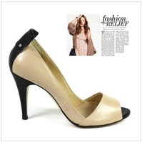 2014 New arrival style Fashion design PU and real leather peep toe high heels ladies high heel sexy shoes for woman sandals 3816
