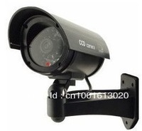 BG Outdoor Indoor Fake Dummy Imitation CCTV Security Camera W/ Blinking Flashing Light Bullet Shape black TW02