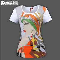 2014 New arrival HK Hot fashion most popular women's cotton Printed patch cloth tshirt short sleeve T-shirt K0121