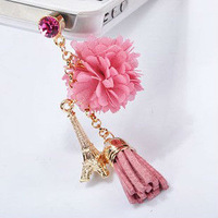 MINI ORDER USD10(mixed) Free shipping Earphone Ear Cap Dock color flower with tower Dust Plug 3.5mm plug