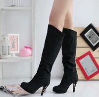 2014 New Brand Winter High Heel Boots For Women/Desgual Sexy Knee-high Women Boots/Candy Color Casual Women Shoes