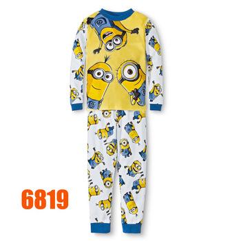 Baby Boys White Minions Clothing sets Kids Autumn -Summer Pajamas Set New 2015 Wholesale Children Cartoon Clothes 6819