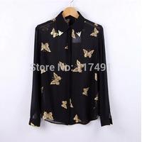 Spring Autumn New Fashion Ladies' Elegant Gold Butterfly Printing Metal Collar Long Sleeve Chiffon Blouse super beautiful ft311
