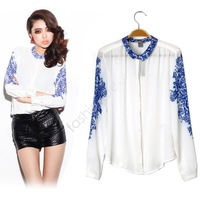 New Women's Vintage Shirt China Style Top Casual  Blue And White Porcelain Chiffon Blouse Long Sleeve Top Free Shipping 111