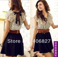 Perfect Women's Dresses Summer Chiffon Short-sleeve Knee-Length and Belt / S M L