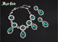 2013 New women fashion retro atmosphere of ADR green necklace and earrings Combination packages Christmas gifts
