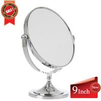 Free Shipping 9Inch High Quality Desktop bathroom Dual-side Magnifying Shaving&Cosmetic mirror Plastic round 22cm FS-M1313
