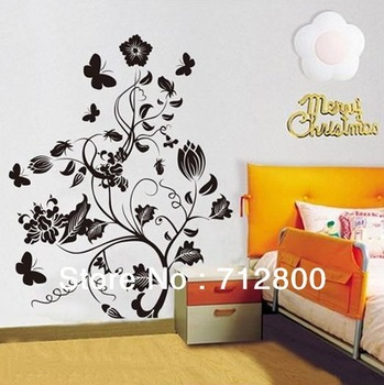 Free Shipping DIY Flower Wall Sticker/Vinyl Wall Decals/Waterpoof Home Decor 50*70CM 1pcs/lot