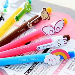 6 designs available 5pcs/lot New Cute Kawaii Korea Novelty Ballpoint Pens Lovely Ball Pen Stationery Blue core Free shipping 014(China (Mainland))