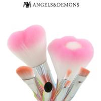 ANGELS & DEMONS 7 Pcs Pink Love Flower Makeup Brushes Set Kits For Girls Powder Blush Eyeshadow Make Up Applicators
