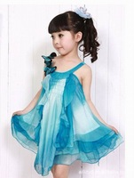 D15 hot  sale 2014 summer dress girls chiffon dress Popular 110-150 size girl princess dress performance  costumes for children