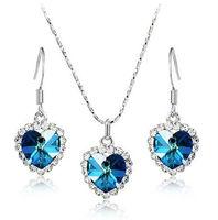 Free shipping Multicolors heart of ocean jewelry set austrian crystal heart necklace earrings AJS006