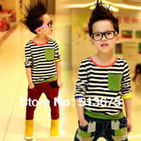 Free Shipping New 2014 spring children clothing fashion boys long-sleeved T-shirts color striped kids wear cotton boy clothes
