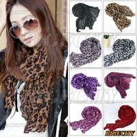 Fashion Women Ladies Soft Leopard Crinkle Shawl Scarf Long Stole Free Shipping