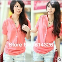 Free Shipping New Fashion  Plus Size 2XL 3XL 4XL Chiffon Shirt Slim Fit Blouses Tops For Women 2013 Summer  #XY2058